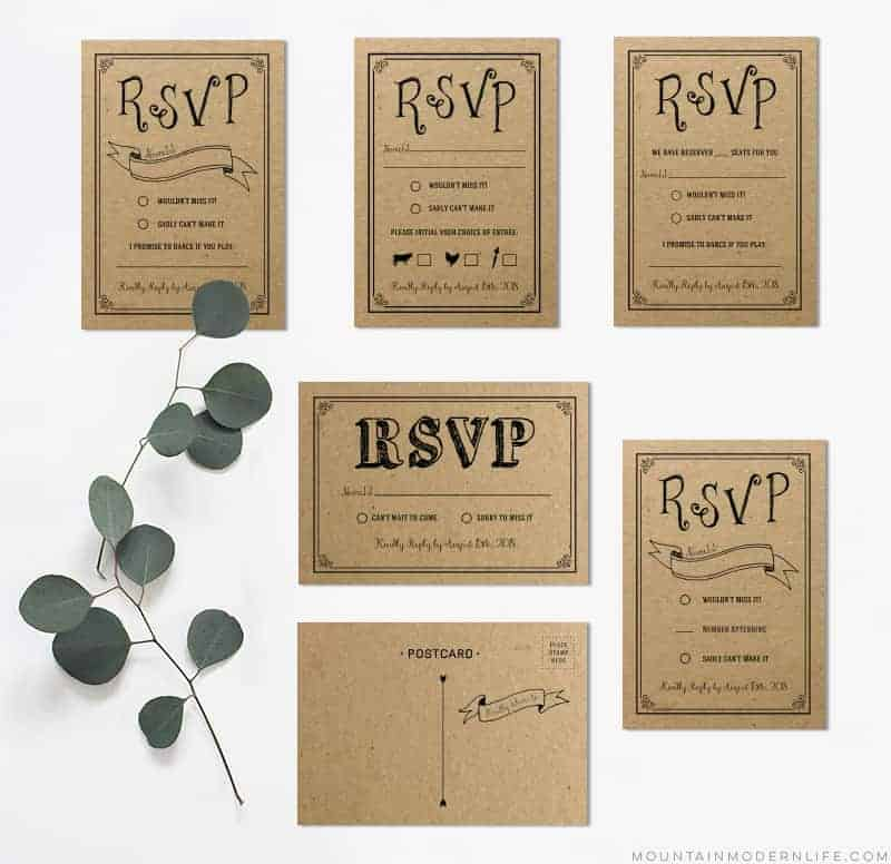 Black Rustic DIY RSVP Card MountainModernLife