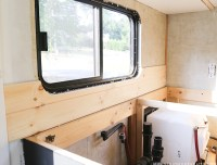 Wood Planked Kitchen Backsplash   MountainModernLife.com