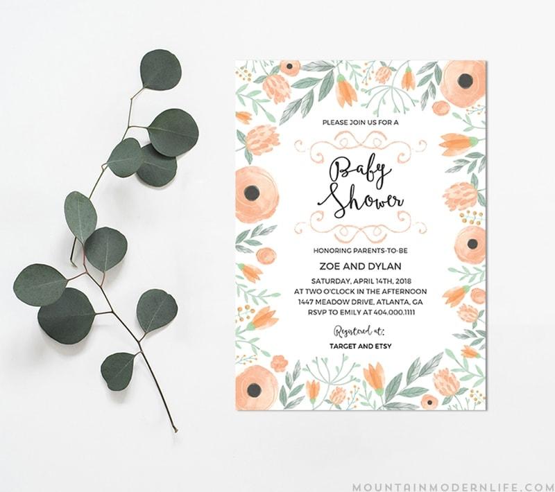 Printable Floral DIY Baby Shower Invitation MountainModernLife