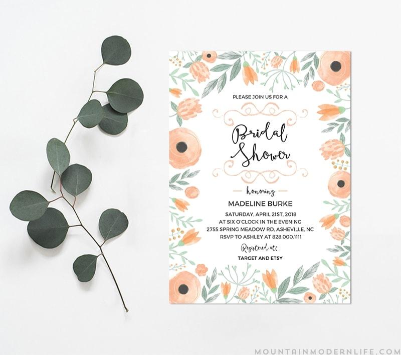 DIY Bridal Shower Invitation MountainModernLife