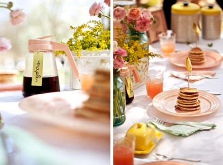 pancakes and syrup at a bridal shower