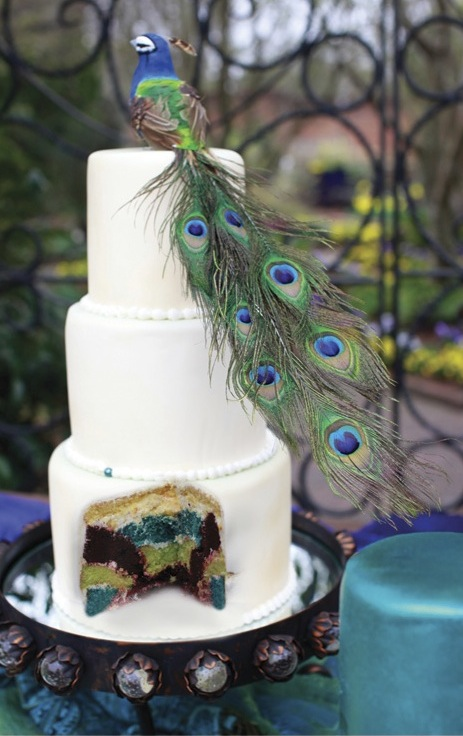 multi-colored peacock cake