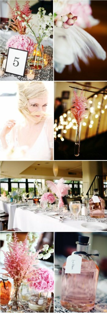 pink accents with beaker vases