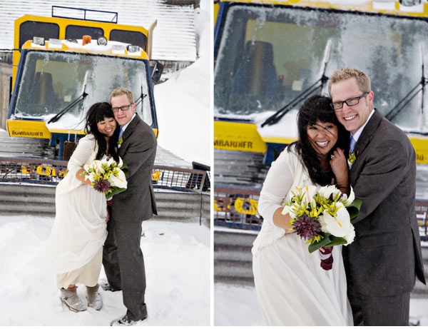 bride and groom near snow cat