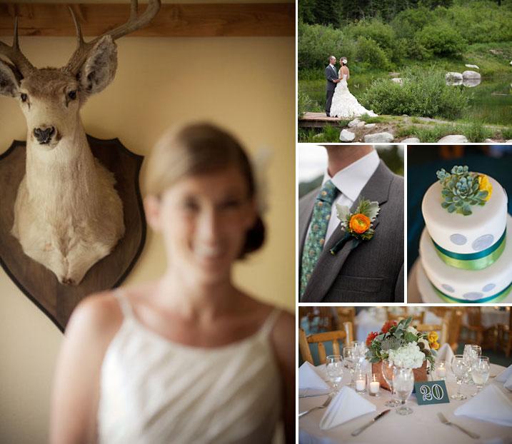 modern blue, yelloe, and orange mountain wedding