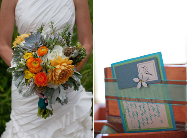 orange and gray bridal bouquet