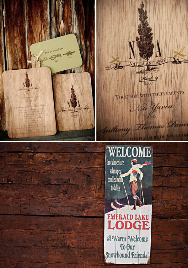 wooden invitations and vintage ski sign