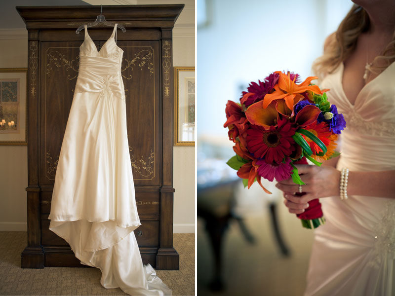 wedding gown and bouquet