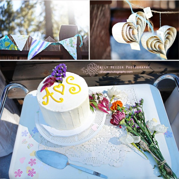 hand made bunting, quilled hearts, and cake