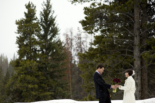 Breckenridge Bride and Groom play in the snow