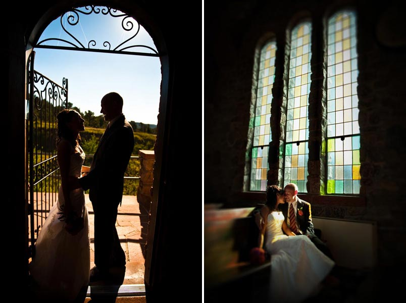bridal portraits in a Catholic Church