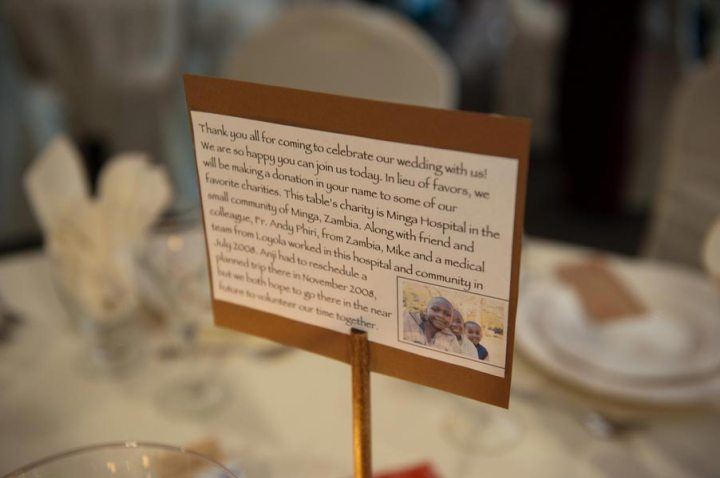 Charity table numbers