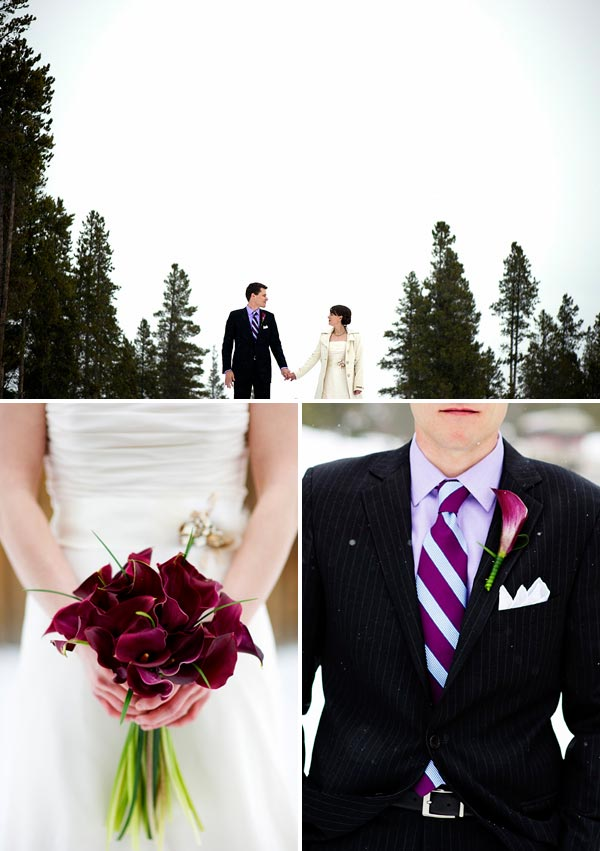 Winter wedding burgundy red flowers and purple tie