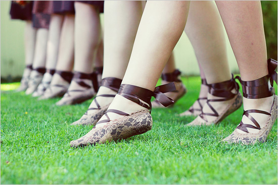 brown lace ballet flats