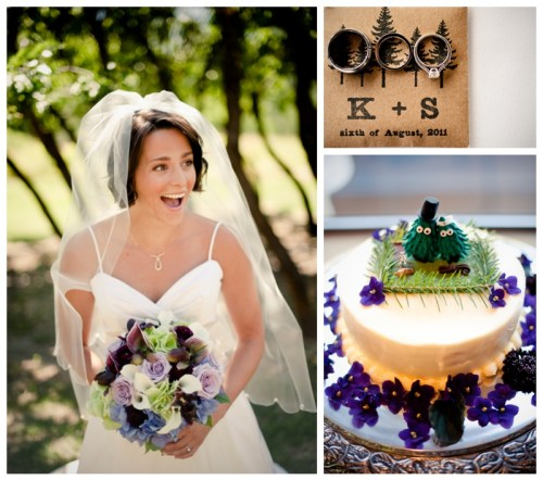 bride with purple wedding bouquet, cake with purple flowers, wedding rings on brown paper invitation