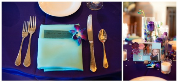 purple and turquoise place setting