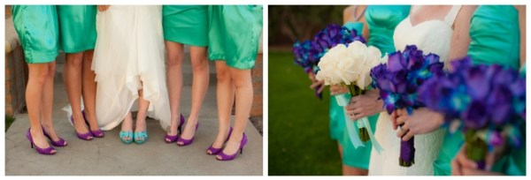 Turquoise bridesmaid dresses with purple shoes