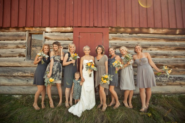 gray mix and match bridesmaids dresses