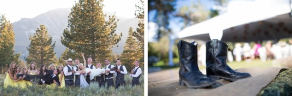 black wedding boots and wedding party