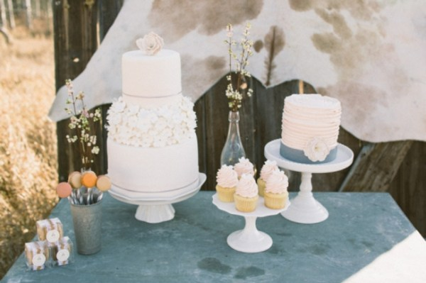 7-Jackson-Hole-wedding-inspiration-shabby-chic-cake-table