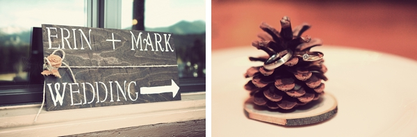 wooden wedding sign and pincecone with wedding rings