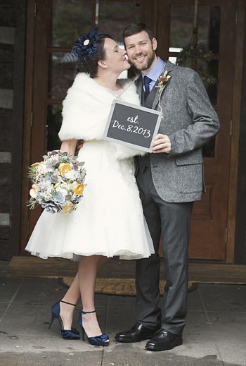 winter bride and groom chalkboard sign