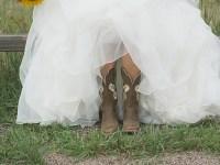 bride in boots | Colorado Wedding
