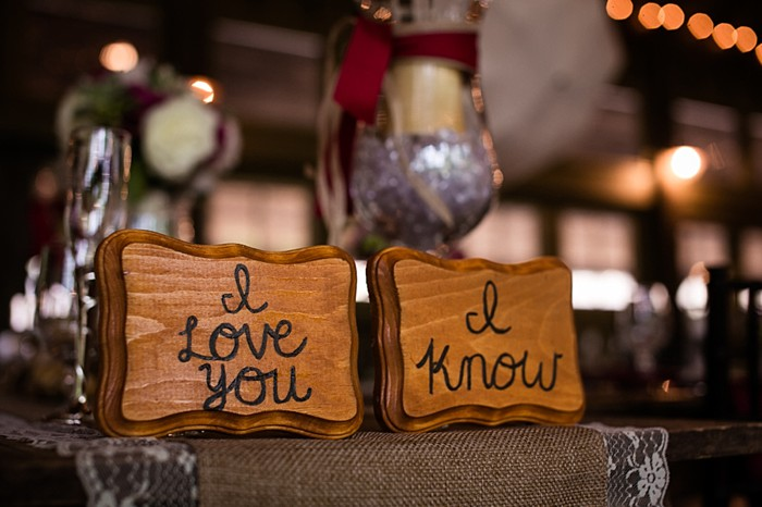 I Love You burned wooden plaques western North Carolina handmade wedding by Shutter Love Photography