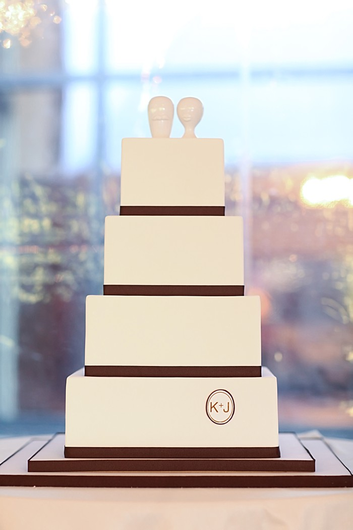 Modern square wedding cake with brown ribbon and a monogram | Deer Valley Utah Wedding | Pepper Nix Photography