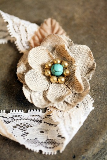 handmade burlap flower | Snowbird Utah Wedding Logan Walker Photography