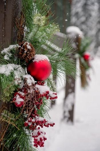 red holiday ornament   Emerald Lake winter elopement   Orange Girl
