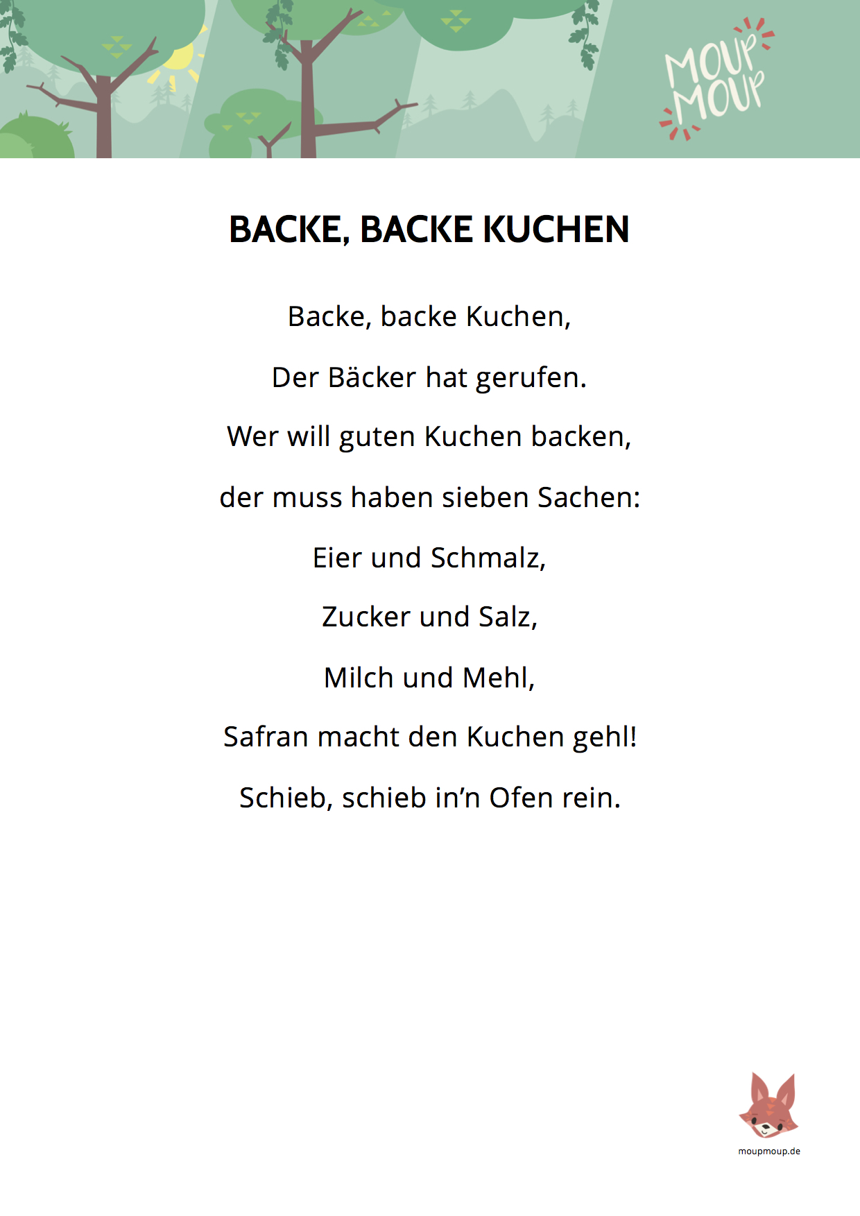 Backe Backe Kuchen Song Text Backe Backe Kuchen Zuhause Image Idee