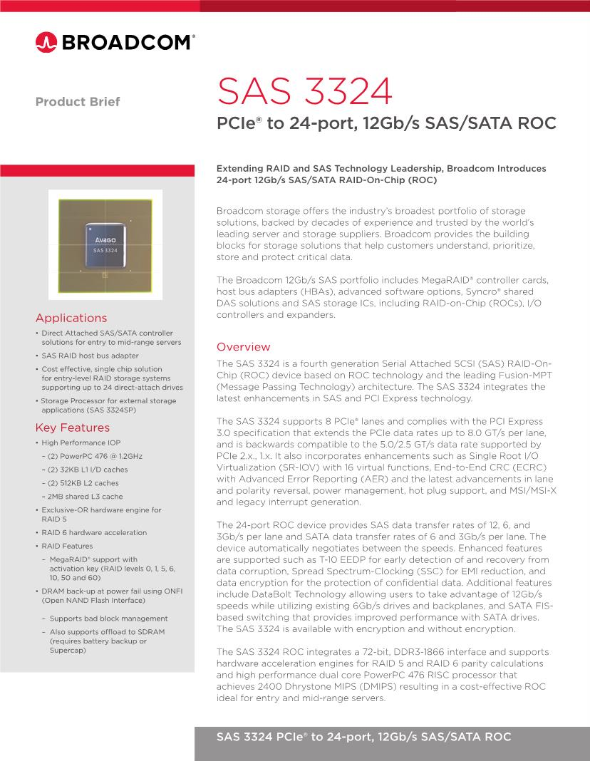 Sas Bad 24 Broadcom Limited Other Modules Datasheets Mouser