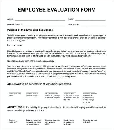 50+ Free Download Employee Evaluation Form Template for Staff\u0027s