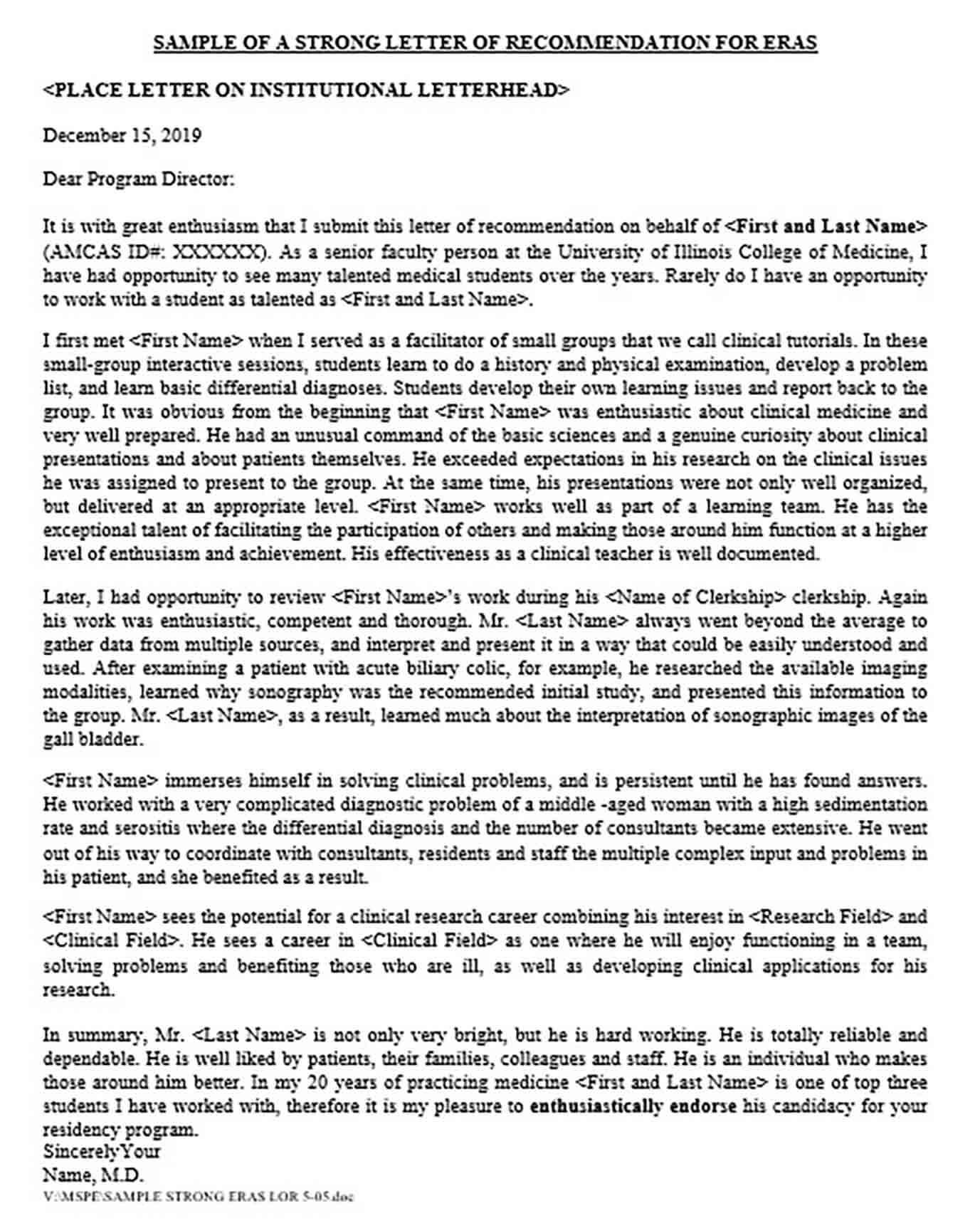 letter recommendation medical school sample