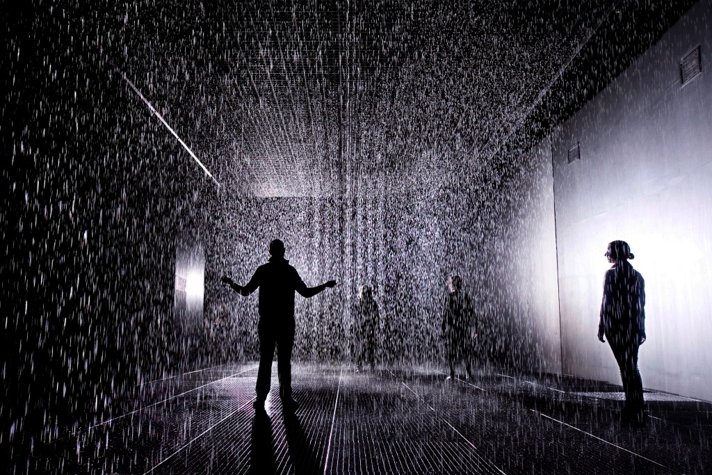 Rain Room, by Random International, at the Curve Gallery, Barbican Art Gallery, in London. The installation is in place and open to the public from 4th October until 3rd March 2013. Photograph by Felix Clay.