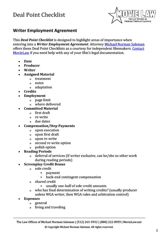 Writer Employment Agreement - Movie Law