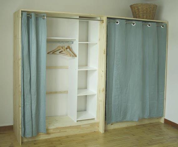 Diy r alisez son propre dressing en bois et lin - Dressing ferme par un rideau ...