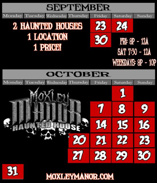 Texas Haunted House Calendar
