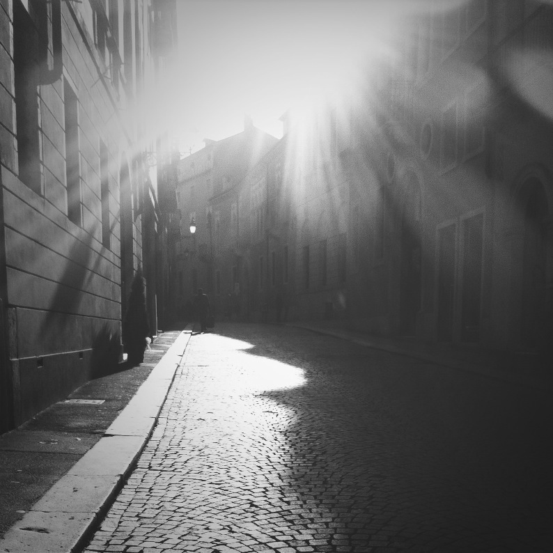 black and white street and sunlight