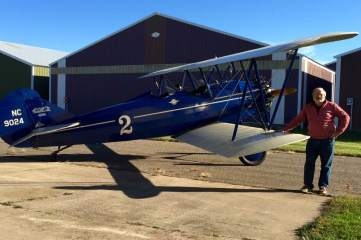 Roger Gomoll and the 1928 Travelair 4000 Biplane/Hops for Pops auction item