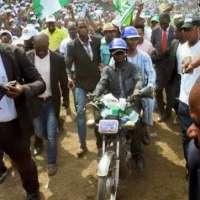 Lagos State Governorship Aspirant, Jimi Agbaje Rides okada to Rally