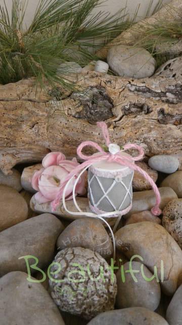 Μπομπονιέρες Βάπτισης. Μπομπονιέρα βάπτισης κορίτσι, τύμπανο κρεμαστό με κορδέλα λινάτσα ροζ.