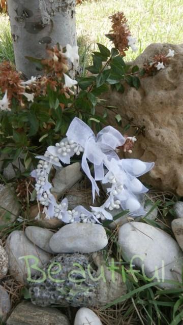 Μπομπονιέρα Γάμου, Στεφανάκι με πέρλες και 3 ρακέτες χειροποίητο.