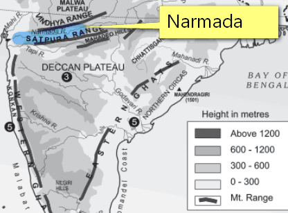 Map Narmada elevation