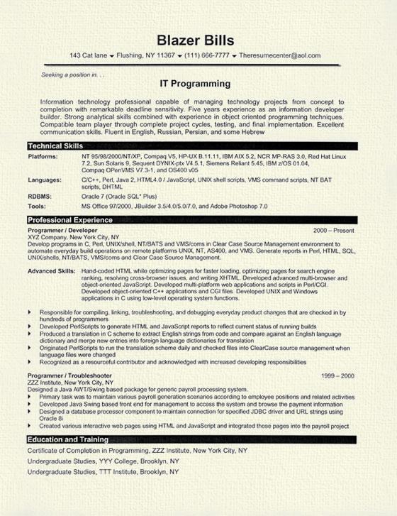 resume samples for programmers
