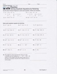 Solving Quadratic Equations Worksheet And Answers ...