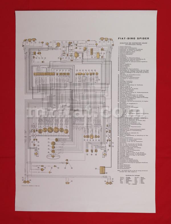 Fiat Dino 2000 Spider Wiring Diagram 59x84 cm New eBay