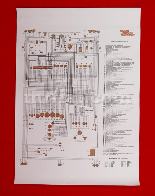 Fiat Dino 2400 Coupe Wiring Diagram 59x84 cm New eBay