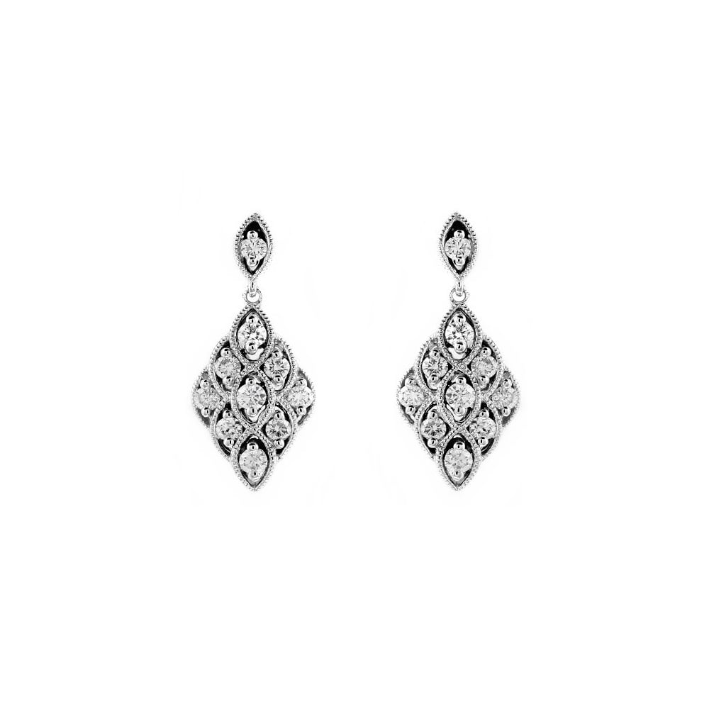 Art Deco Style Earrings Uk 18ct White Gold 57ct Diamond Art Deco Style Drop Earrings